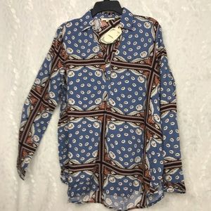 NWT Entro floral boho tunic l/s career wear med